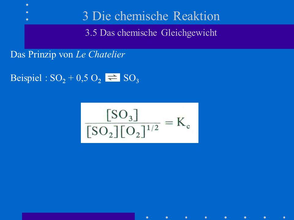 3 Die chemische Reaktion 3.5 Das chemische Gleichgewicht Freie Reaktionsenthalpie Die Gleichgewichtslage einer chemischen Reaktion hängt sowohl von der Reaktionsenthalpie  H als auch von der Reaktionsentropie  S ab.