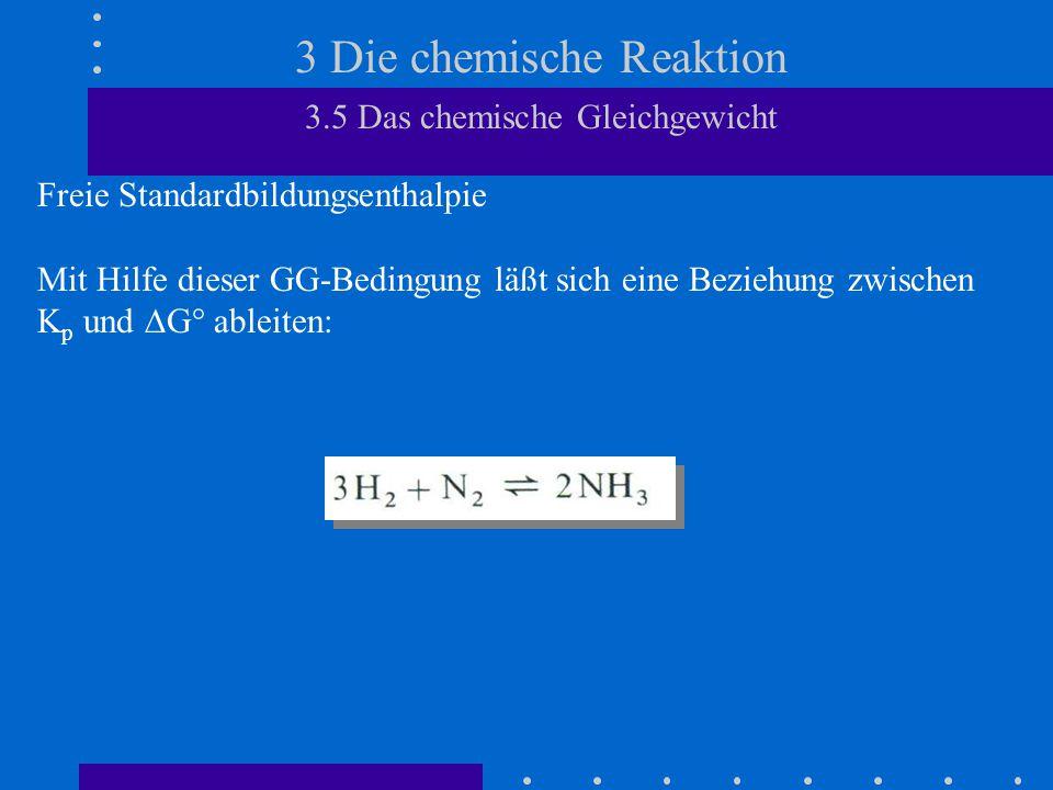 3 Die chemische Reaktion 3.5 Das chemische Gleichgewicht Freie Standardbildungsenthalpie Mit Hilfe dieser GG-Bedingung läßt sich eine Beziehung zwisch