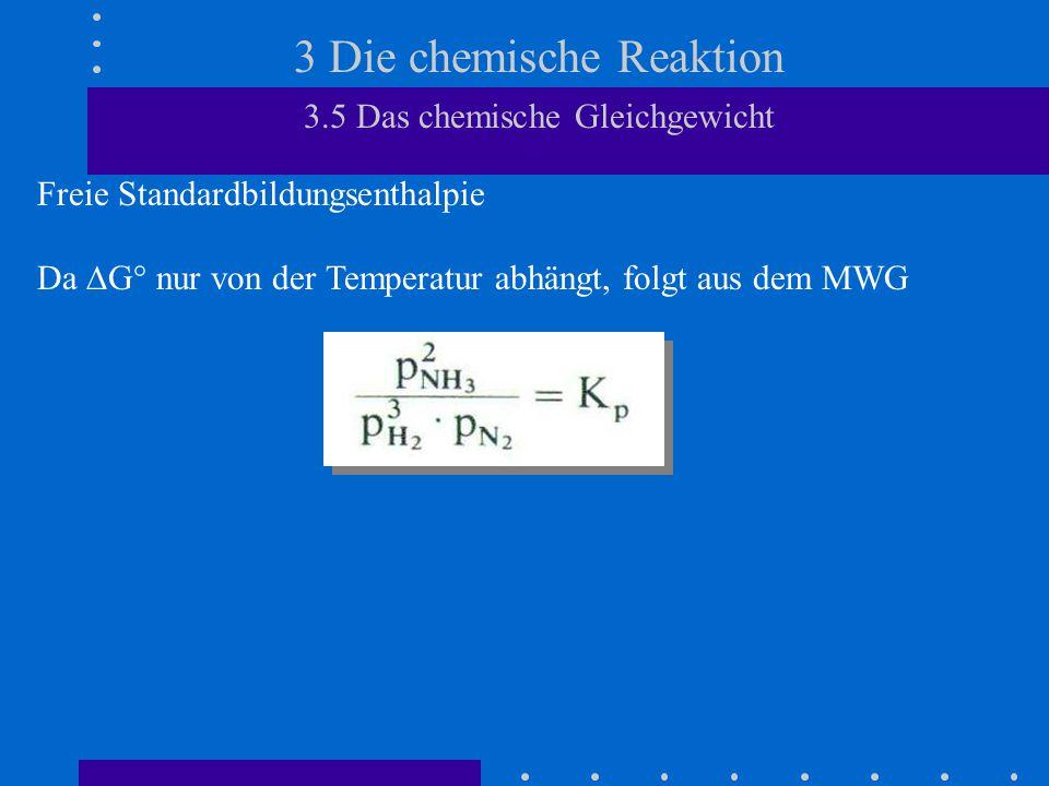 3 Die chemische Reaktion 3.5 Das chemische Gleichgewicht Freie Standardbildungsenthalpie Da  G° nur von der Temperatur abhängt, folgt aus dem MWG