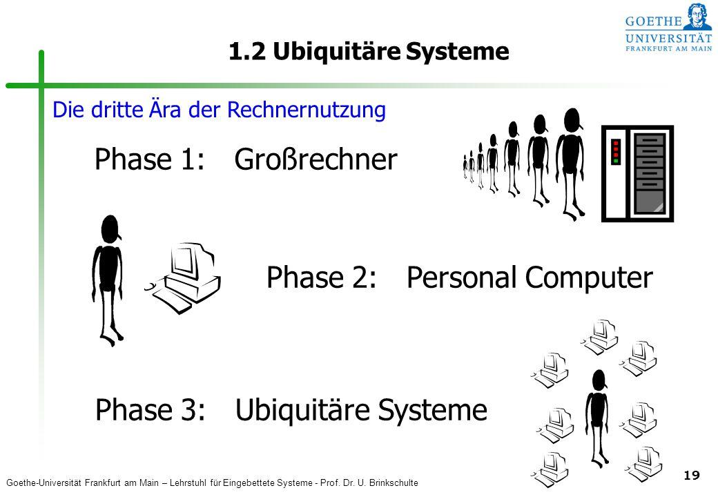 Goethe-Universität Frankfurt am Main – Lehrstuhl für Eingebettete Systeme - Prof. Dr. U. Brinkschulte 19 1.2 Ubiquitäre Systeme Phase 1: Großrechner P