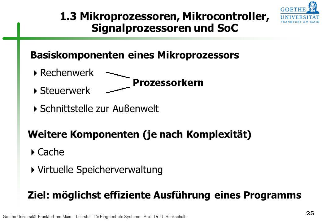 Goethe-Universität Frankfurt am Main – Lehrstuhl für Eingebettete Systeme - Prof. Dr. U. Brinkschulte 25 1.3 Mikroprozessoren, Mikrocontroller, Signal