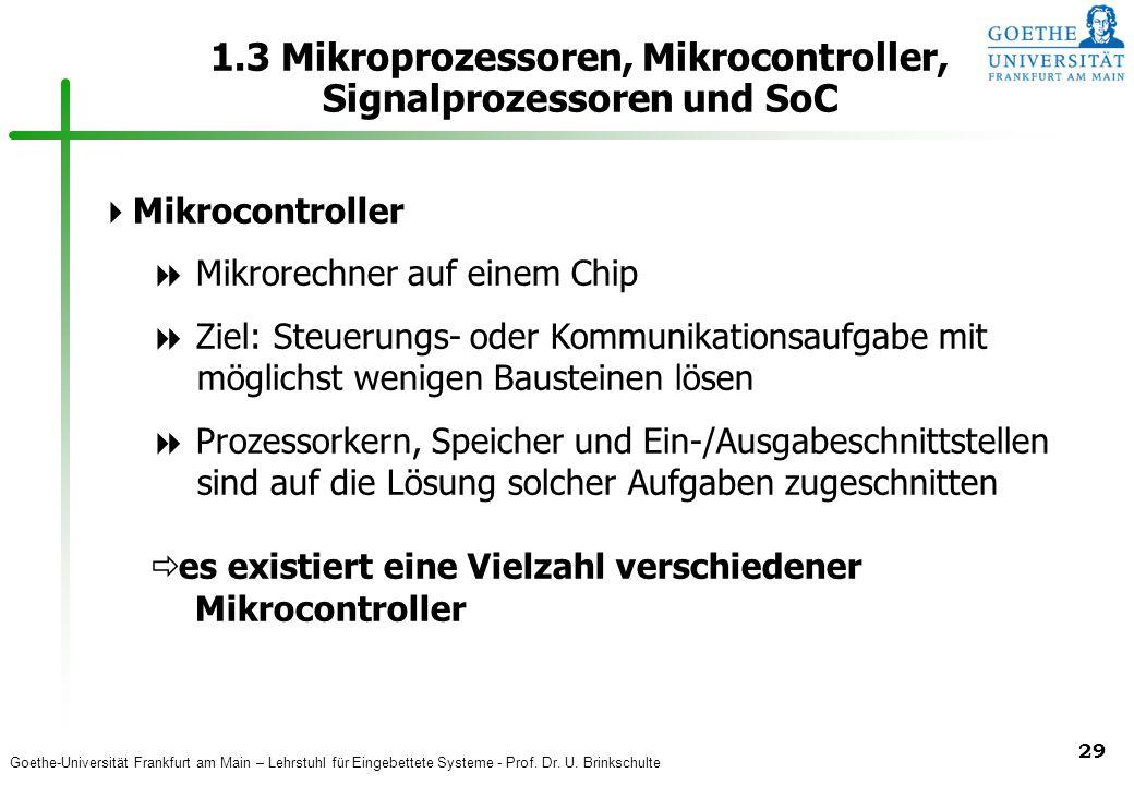 Goethe-Universität Frankfurt am Main – Lehrstuhl für Eingebettete Systeme - Prof. Dr. U. Brinkschulte 29 1.3 Mikroprozessoren, Mikrocontroller, Signal