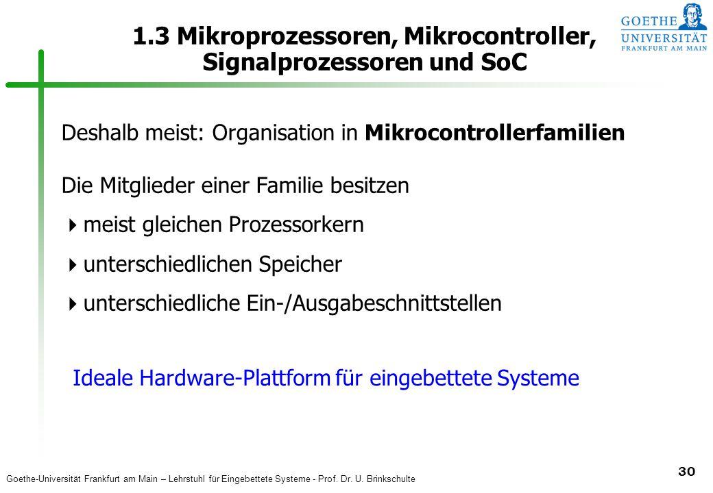 Goethe-Universität Frankfurt am Main – Lehrstuhl für Eingebettete Systeme - Prof. Dr. U. Brinkschulte 30 1.3 Mikroprozessoren, Mikrocontroller, Signal