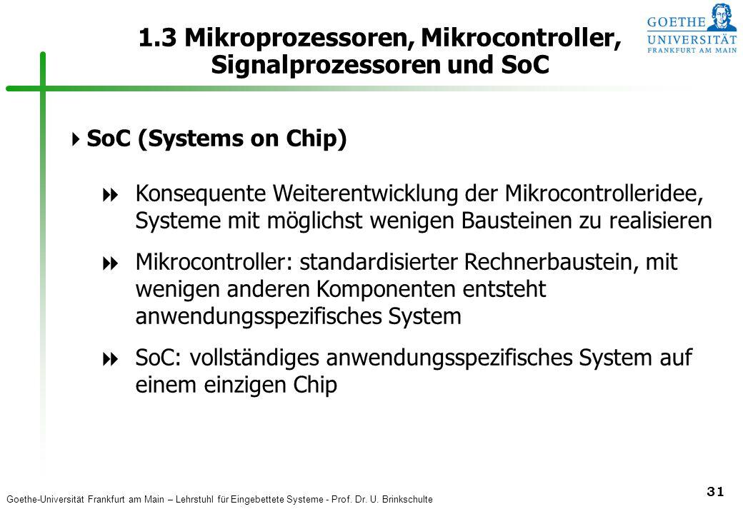 Goethe-Universität Frankfurt am Main – Lehrstuhl für Eingebettete Systeme - Prof. Dr. U. Brinkschulte 31 1.3 Mikroprozessoren, Mikrocontroller, Signal