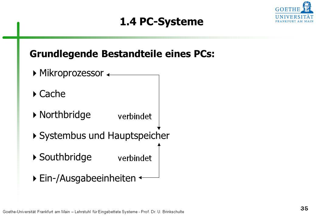 Goethe-Universität Frankfurt am Main – Lehrstuhl für Eingebettete Systeme - Prof. Dr. U. Brinkschulte 35 1.4 PC-Systeme Grundlegende Bestandteile eine