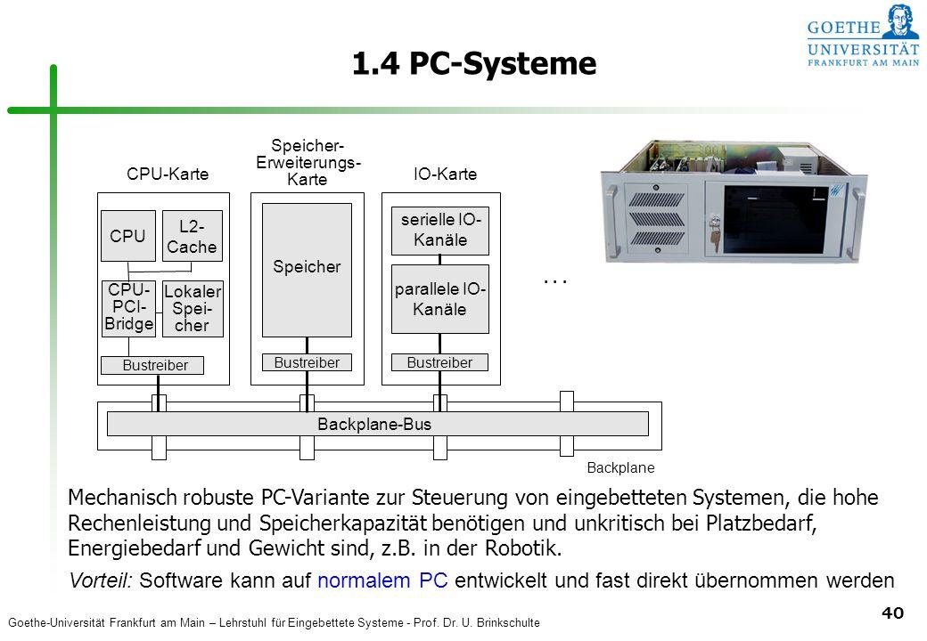 Goethe-Universität Frankfurt am Main – Lehrstuhl für Eingebettete Systeme - Prof. Dr. U. Brinkschulte 40 1.4 PC-Systeme Vorteil: Software kann auf nor