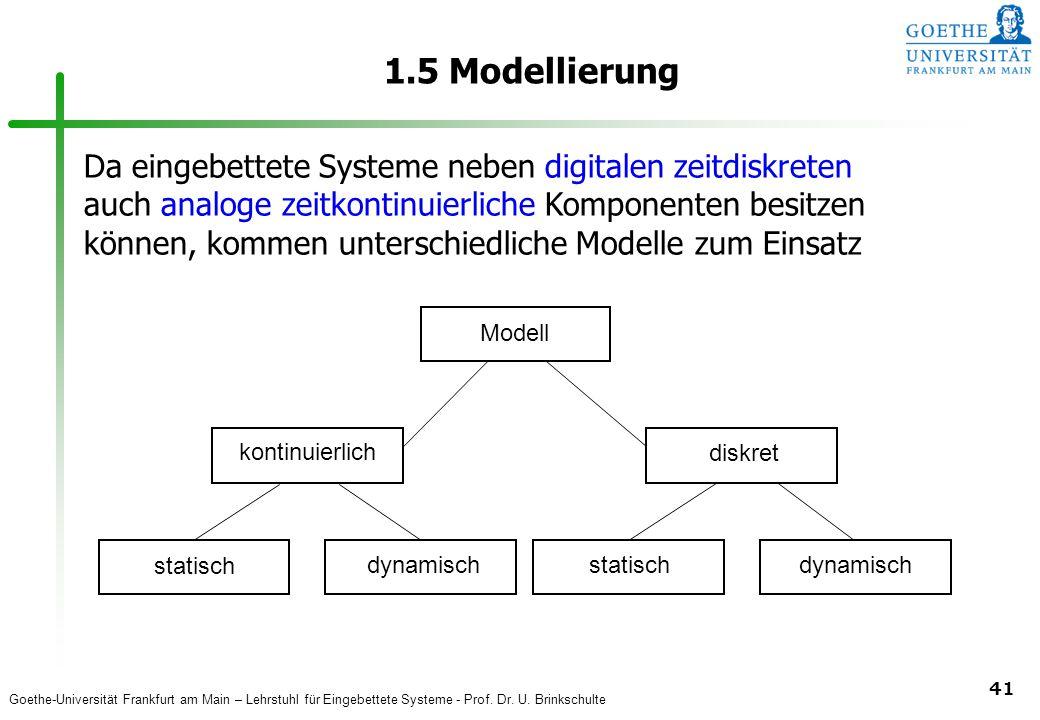Goethe-Universität Frankfurt am Main – Lehrstuhl für Eingebettete Systeme - Prof. Dr. U. Brinkschulte 41 1.5 Modellierung Modell kontinuierlich diskre