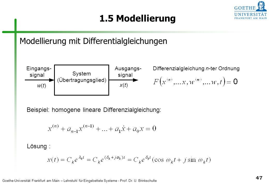 Goethe-Universität Frankfurt am Main – Lehrstuhl für Eingebettete Systeme - Prof. Dr. U. Brinkschulte 47 1.5 Modellierung Eingangs- signal Ausgangs- s