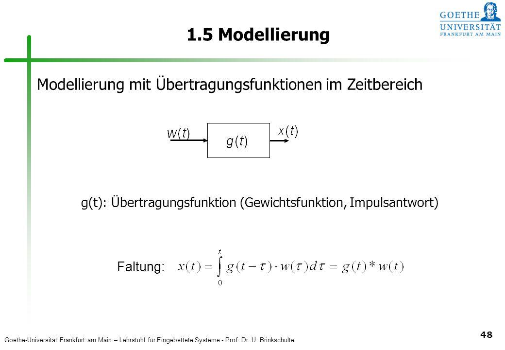 Goethe-Universität Frankfurt am Main – Lehrstuhl für Eingebettete Systeme - Prof. Dr. U. Brinkschulte 48 1.5 Modellierung Modellierung mit Übertragung