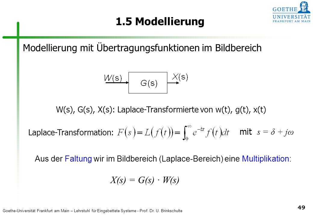 Goethe-Universität Frankfurt am Main – Lehrstuhl für Eingebettete Systeme - Prof. Dr. U. Brinkschulte 49 1.5 Modellierung Modellierung mit Übertragung