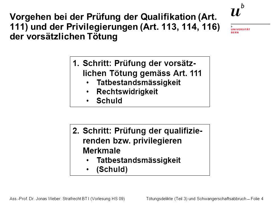 Ass.-Prof. Dr. Jonas Weber: Strafrecht BT I (Vorlesung HS 09) Tötungsdelikte (Teil 3) und Schwangerschaftsabbruch  Folie 4 Vorgehen bei der Prüfung d