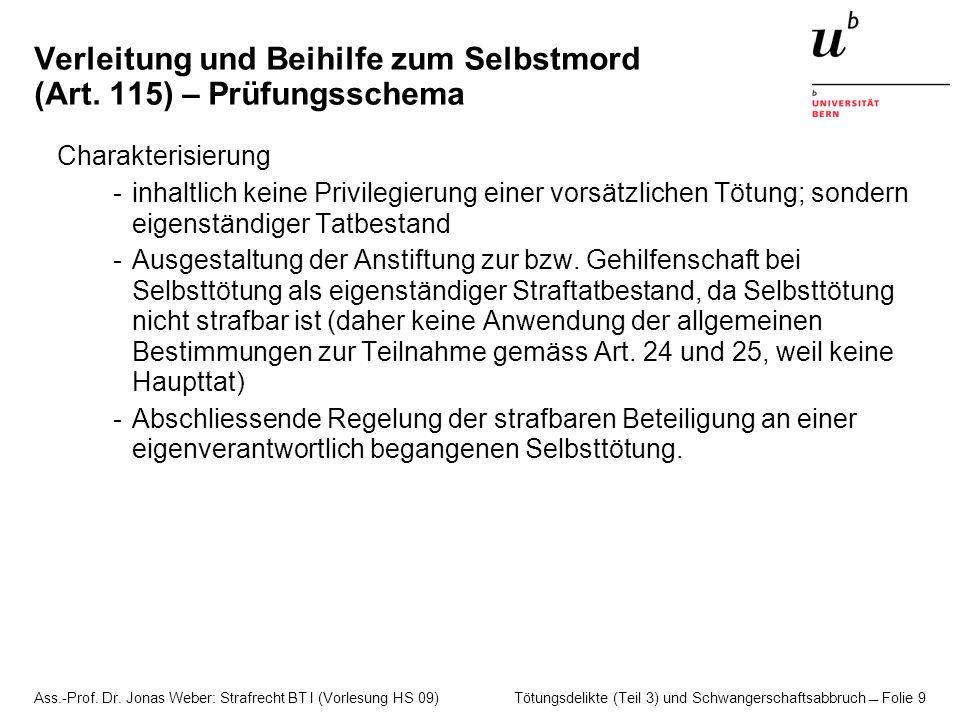Ass.-Prof. Dr. Jonas Weber: Strafrecht BT I (Vorlesung HS 09) Tötungsdelikte (Teil 3) und Schwangerschaftsabbruch  Folie 9 Verleitung und Beihilfe zu