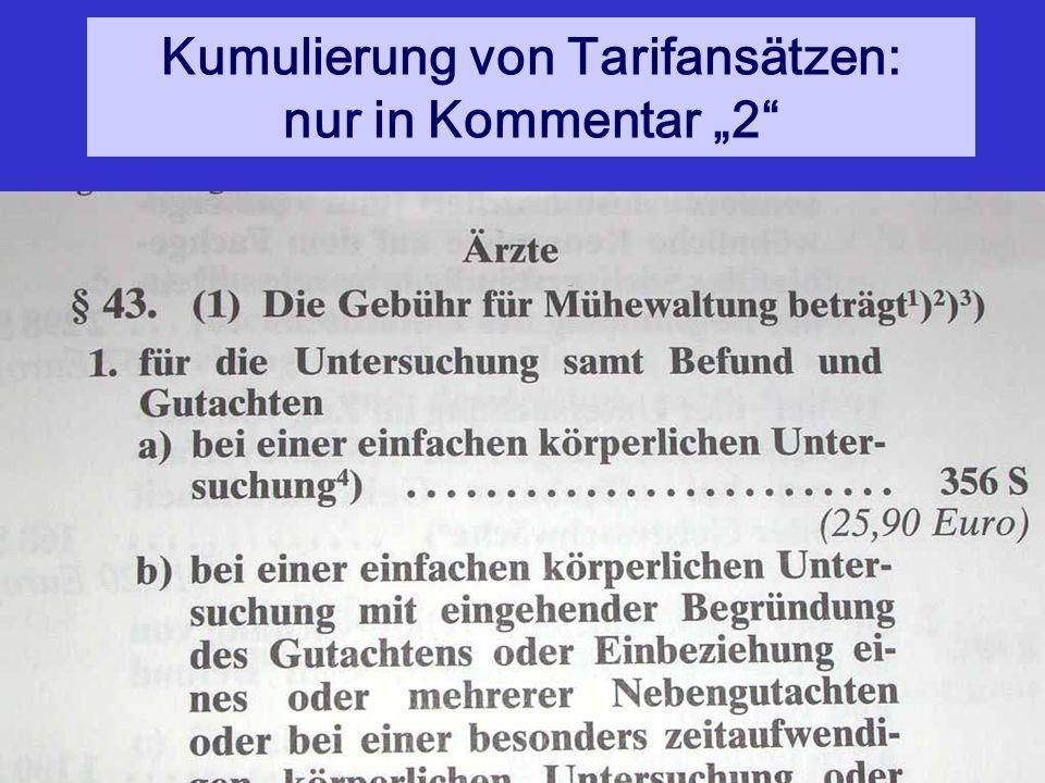 """Kumulierung von Tarifansätzen: nur in Kommentar """"2"""