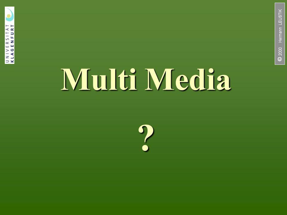 2 / 33  2000 Hermann LEUSTIK Einleitung Multimedia ist in aller Munde Ohne den Begriff Multimedia läßt sich bald kaum etwas verkaufen (z.B.