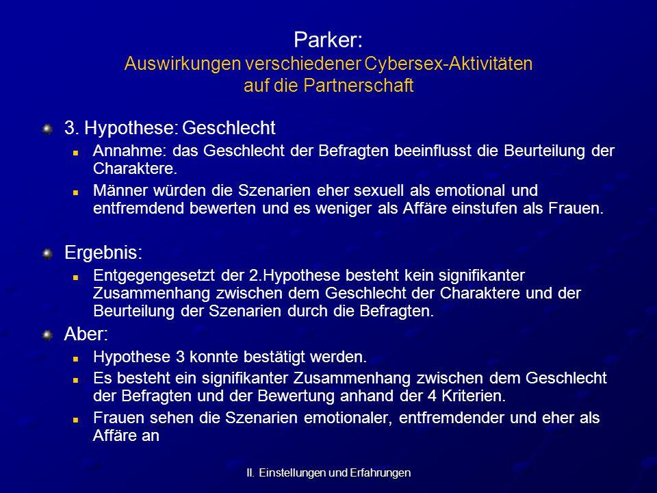 II. Einstellungen und Erfahrungen Parker: Auswirkungen verschiedener Cybersex-Aktivitäten auf die Partnerschaft 3. Hypothese: Geschlecht Annahme: das