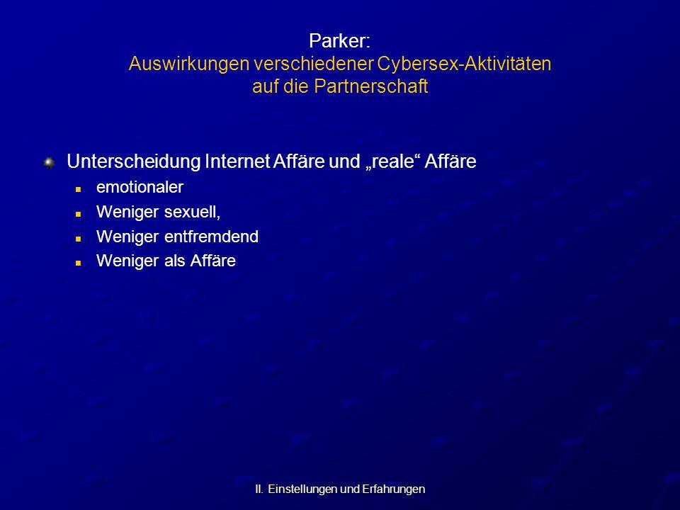 """II. Einstellungen und Erfahrungen Parker: Auswirkungen verschiedener Cybersex-Aktivitäten auf die Partnerschaft Unterscheidung Internet Affäre und """"re"""