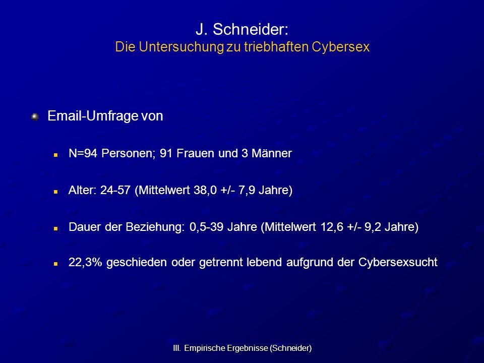 III. Empirische Ergebnisse (Schneider) J. Schneider: Die Untersuchung zu triebhaften Cybersex Email-Umfrage von N=94 Personen; 91 Frauen und 3 Männer