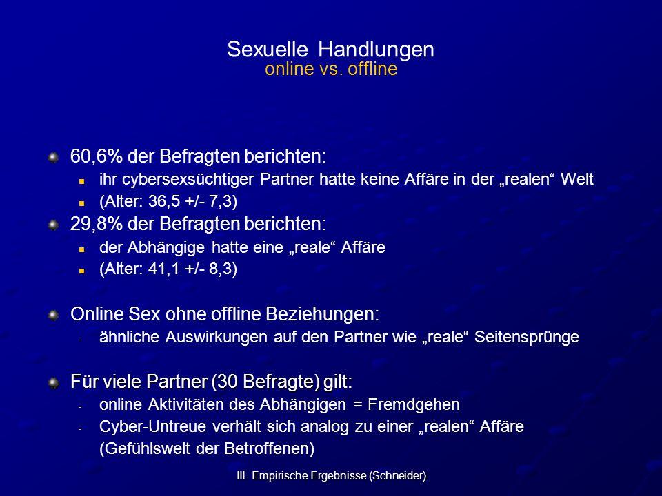 III. Empirische Ergebnisse (Schneider) Sexuelle Handlungen online vs. offline 60,6% der Befragten berichten: ihr cybersexsüchtiger Partner hatte keine