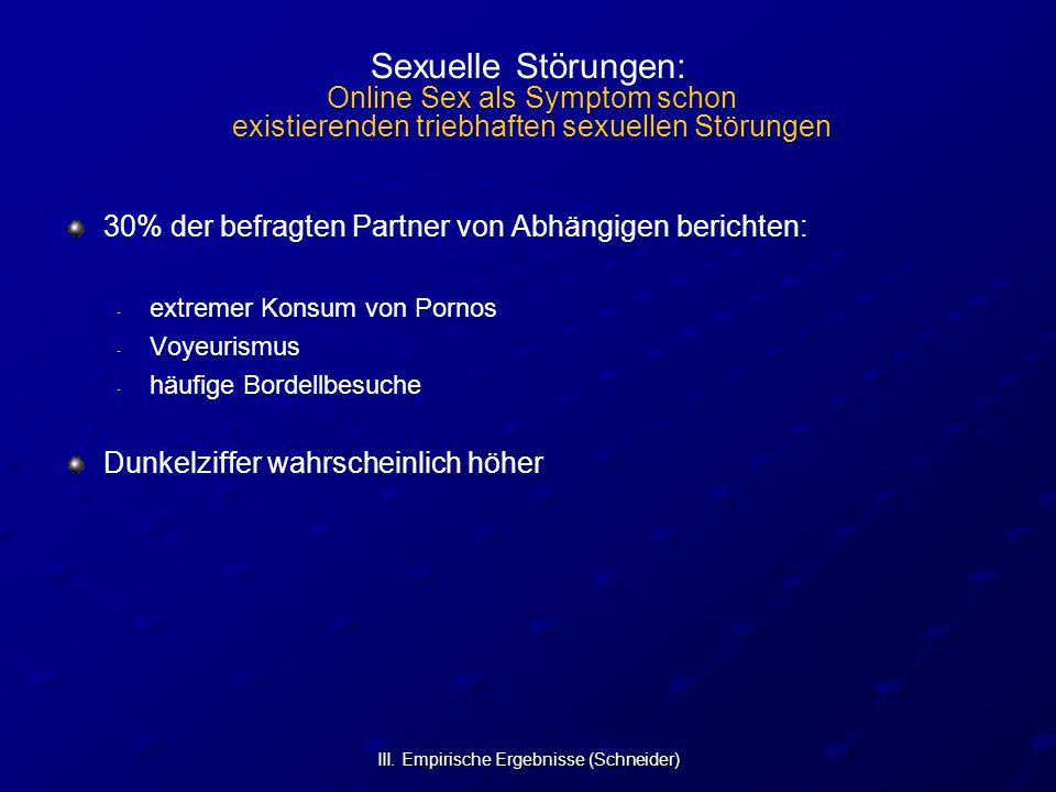 III. Empirische Ergebnisse (Schneider) Sexuelle Störungen: Online Sex als Symptom schon existierenden triebhaften sexuellen Störungen 30% der befragte