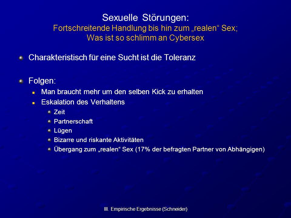 """III. Empirische Ergebnisse (Schneider) Sexuelle Störungen: Fortschreitende Handlung bis hin zum """"realen"""" Sex; Was ist so schlimm an Cybersex Charakter"""
