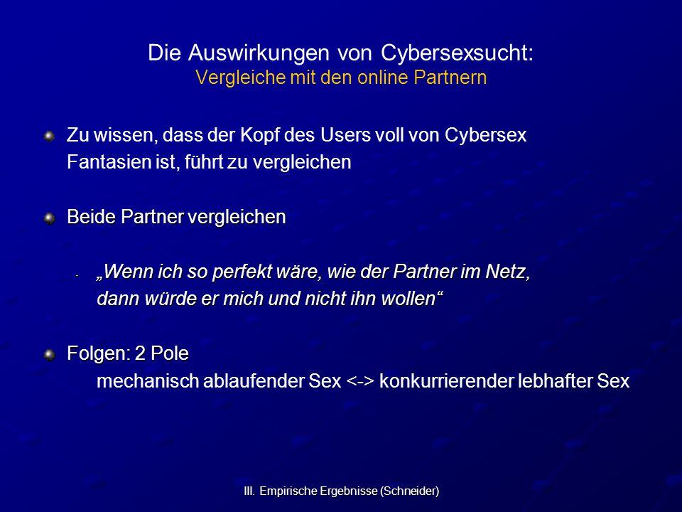 III. Empirische Ergebnisse (Schneider) Die Auswirkungen von Cybersexsucht: Vergleiche mit den online Partnern Zu wissen, dass der Kopf des Users voll