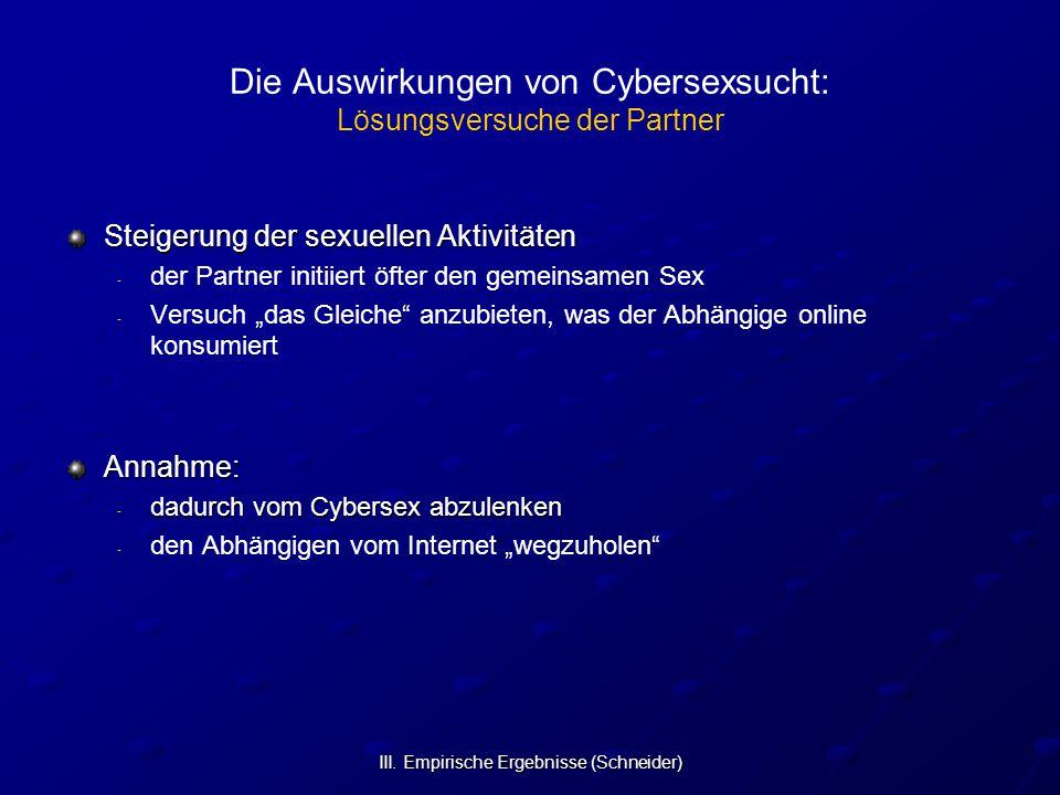 III. Empirische Ergebnisse (Schneider) Die Auswirkungen von Cybersexsucht: Lösungsversuche der Partner Steigerung der sexuellen Aktivitäten - - der Pa