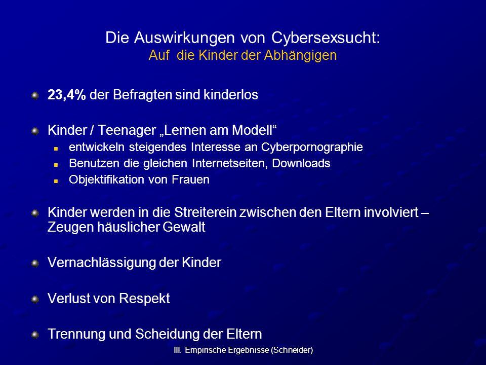 III. Empirische Ergebnisse (Schneider) Die Auswirkungen von Cybersexsucht: Auf die Kinder der Abhängigen 23,4% der Befragten sind kinderlos Kinder / T