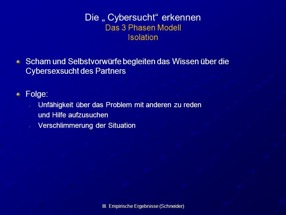 """III. Empirische Ergebnisse (Schneider) Die """" Cybersucht"""" erkennen Das 3 Phasen Modell Isolation Scham und Selbstvorwürfe begleiten das Wissen über die"""