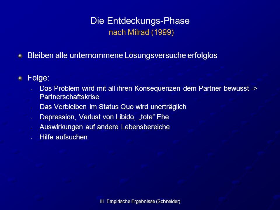 III. Empirische Ergebnisse (Schneider) Die Entdeckungs-Phase nach Milrad (1999) Bleiben alle unternommene Lösungsversuche erfolglos Folge: - - Das Pro