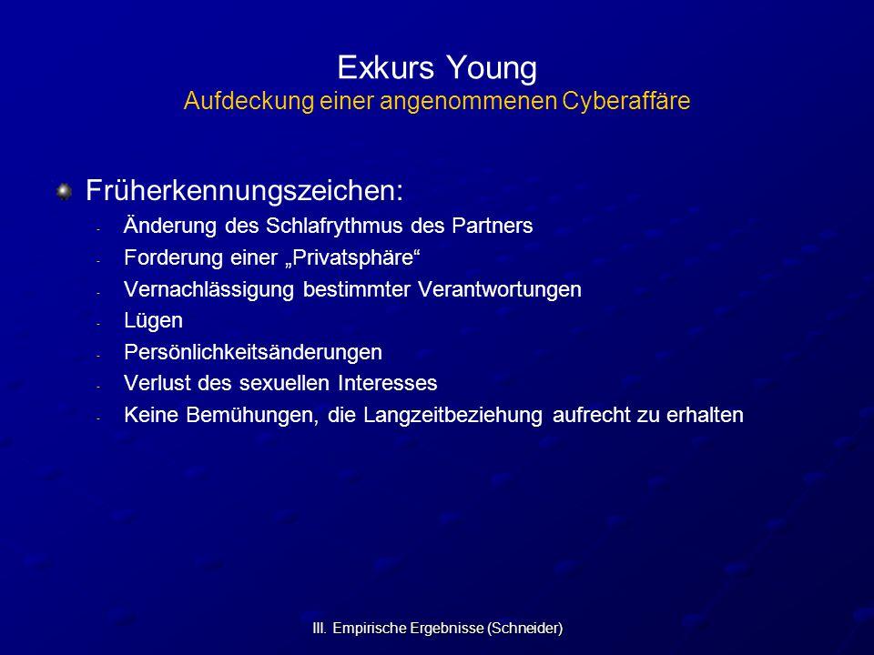 III. Empirische Ergebnisse (Schneider) Exkurs Young Aufdeckung einer angenommenen Cyberaffäre Früherkennungszeichen: - - Änderung des Schlafrythmus de