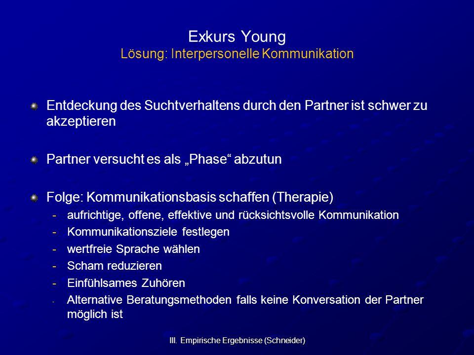 III. Empirische Ergebnisse (Schneider) Exkurs Young Lösung: Interpersonelle Kommunikation Entdeckung des Suchtverhaltens durch den Partner ist schwer