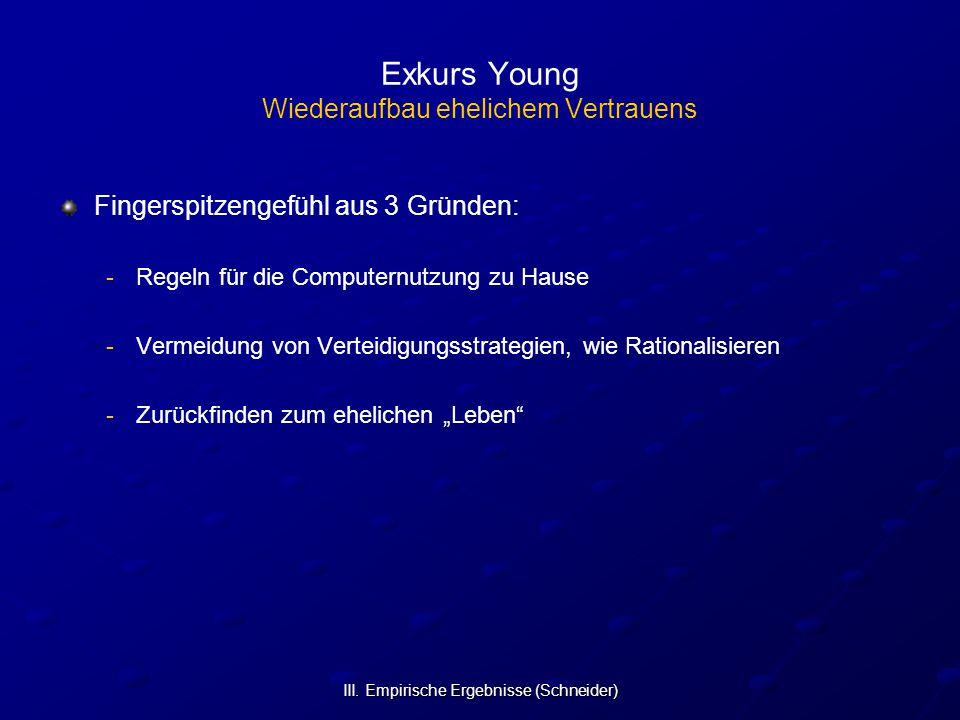 III. Empirische Ergebnisse (Schneider) Exkurs Young Wiederaufbau ehelichem Vertrauens Fingerspitzengefühl aus 3 Gründen: - -Regeln für die Computernut