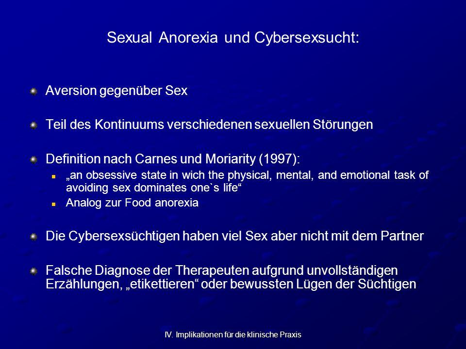 IV. Implikationen für die klinische Praxis Sexual Anorexia und Cybersexsucht: Aversion gegenüber Sex Teil des Kontinuums verschiedenen sexuellen Störu