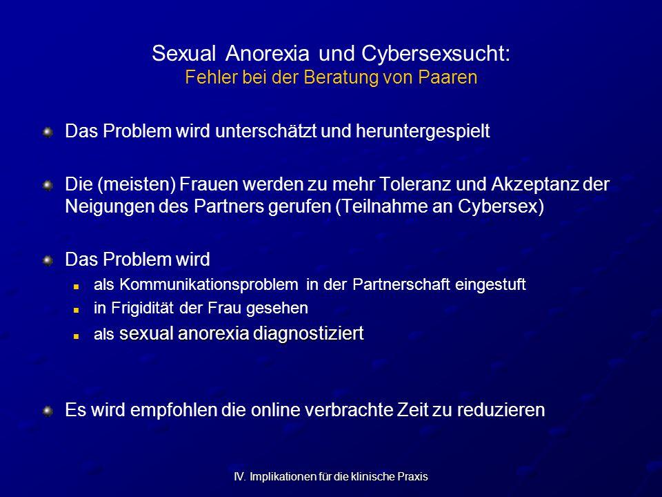 IV. Implikationen für die klinische Praxis Sexual Anorexia und Cybersexsucht: Fehler bei der Beratung von Paaren Das Problem wird unterschätzt und her
