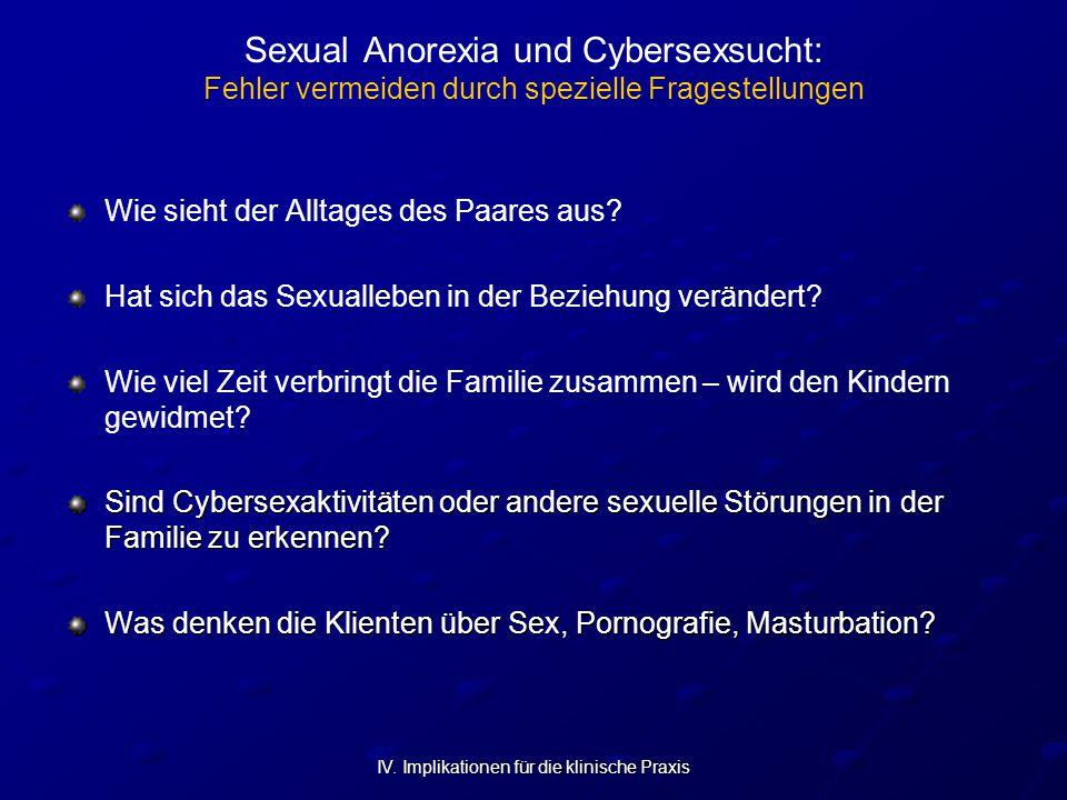 IV. Implikationen für die klinische Praxis Sexual Anorexia und Cybersexsucht: Fehler vermeiden durch spezielle Fragestellungen Wie sieht der Alltages