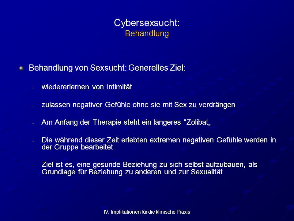 IV. Implikationen für die klinische Praxis Cybersexsucht: Behandlung Behandlung von Sexsucht: Generelles Ziel: - - wiedererlernen von Intimität - - zu