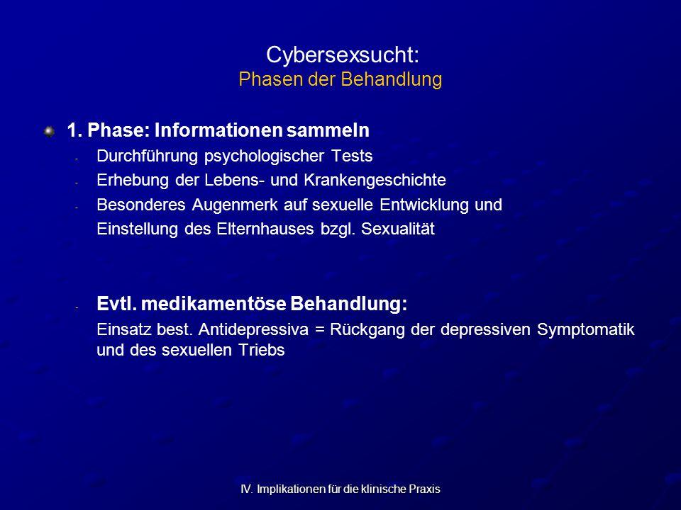 IV. Implikationen für die klinische Praxis Cybersexsucht: Phasen der Behandlung 1. Phase: Informationen sammeln - - Durchführung psychologischer Tests
