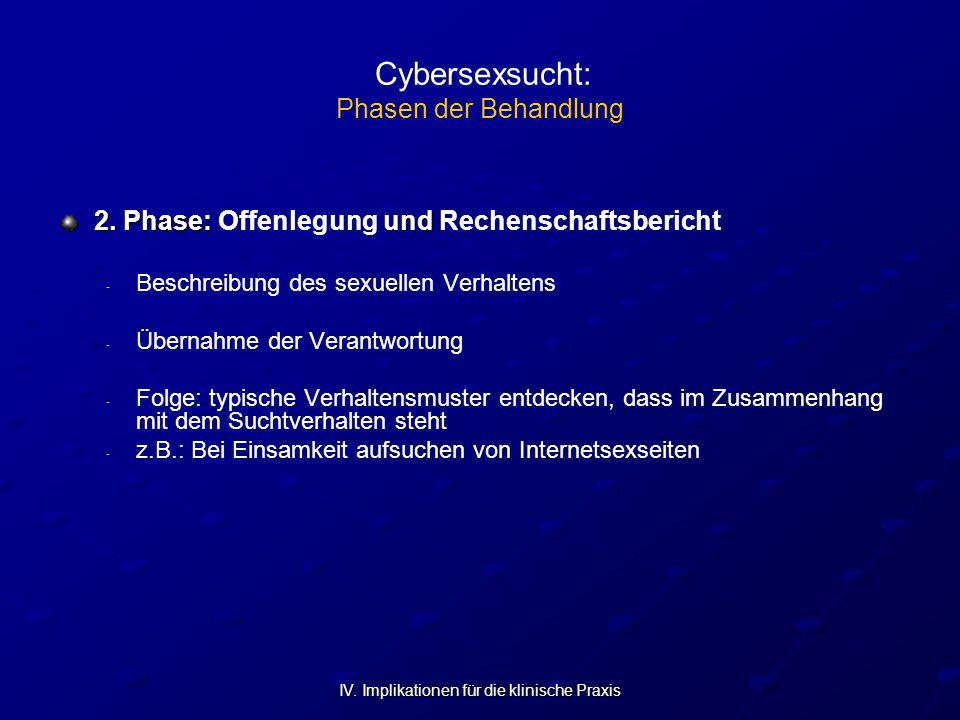 IV. Implikationen für die klinische Praxis Cybersexsucht: Phasen der Behandlung 2. Phase: und 2. Phase: Offenlegung und Rechenschaftsbericht - - Besch
