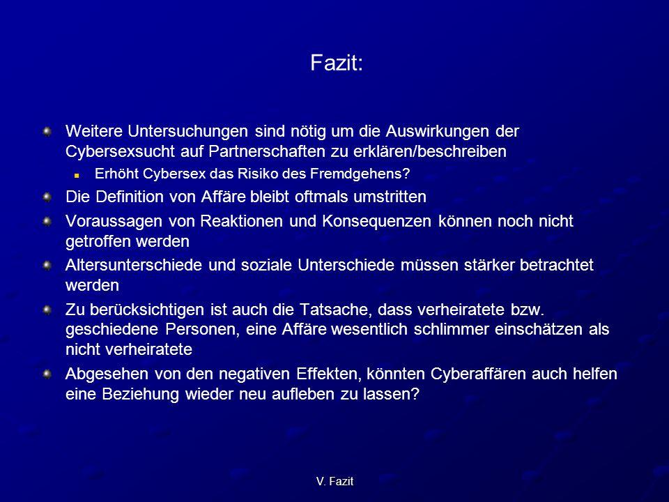 V. Fazit Fazit: Weitere Untersuchungen sind nötig um die Auswirkungen der Cybersexsucht auf Partnerschaften zu erklären/beschreiben Erhöht Cybersex da