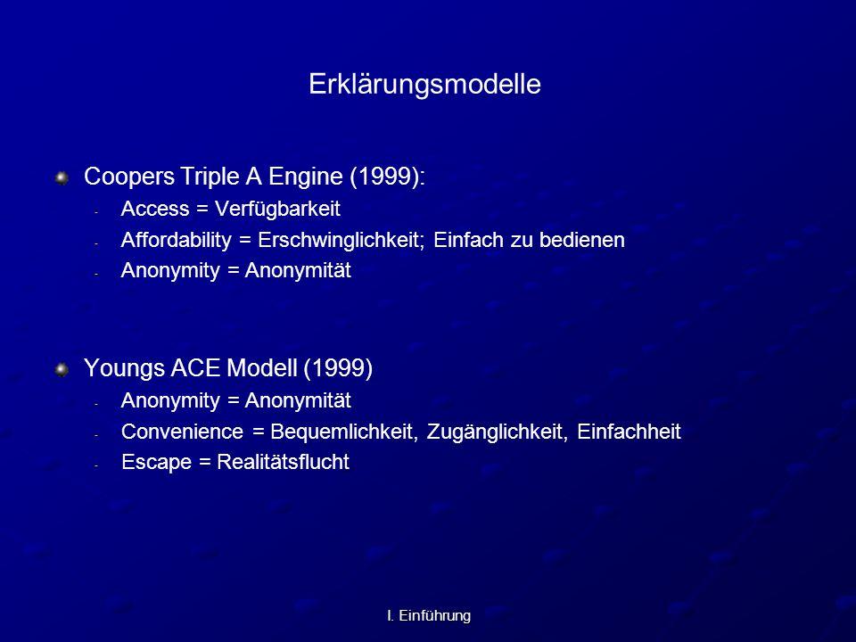 I. Einführung Erklärungsmodelle Coopers Triple A Engine (1999): - - Access = Verfügbarkeit - - Affordability = Erschwinglichkeit; Einfach zu bedienen