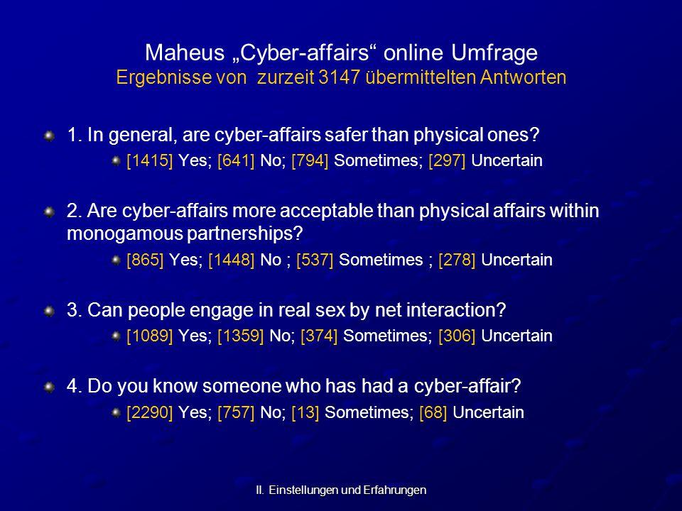"""II. Einstellungen und Erfahrungen Maheus """"Cyber-affairs"""" online Umfrage Ergebnisse von zurzeit 3147 übermittelten Antworten 1. In general, are cyber-a"""