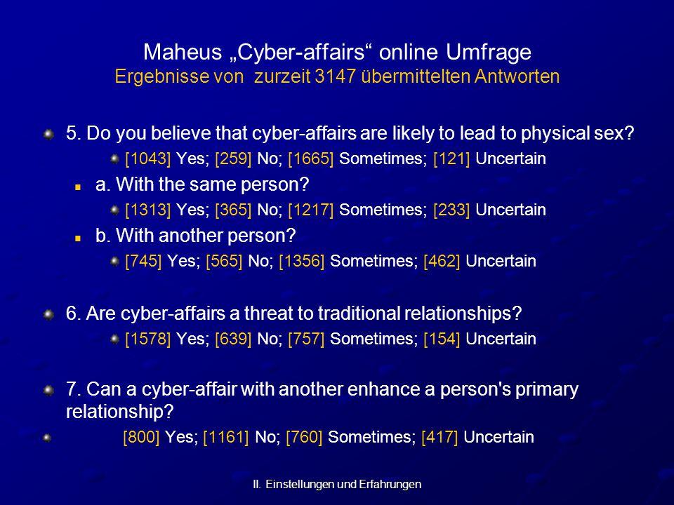 """II. Einstellungen und Erfahrungen Maheus """"Cyber-affairs"""" online Umfrage Ergebnisse von zurzeit 3147 übermittelten Antworten 5. Do you believe that cyb"""