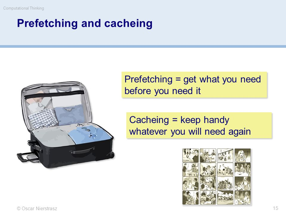 Prefetching and cacheing © Oscar Nierstrasz Computational Thinking 15 Prefetching = get what you need before you need it Cacheing = keep handy whatever you will need again