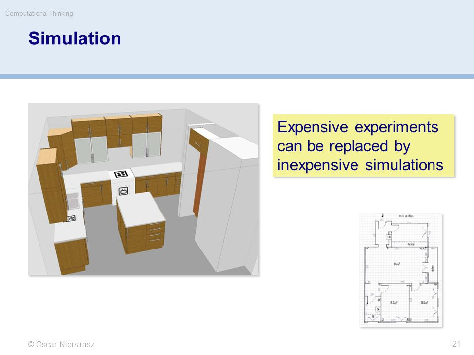 Simulation © Oscar Nierstrasz Computational Thinking 21 Expensive experiments can be replaced by inexpensive simulations