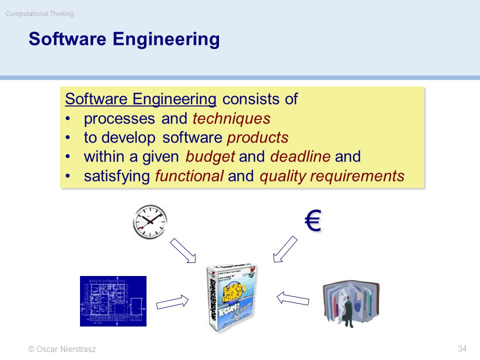 Software Engineering © Oscar Nierstrasz Computational Thinking 34 Software Engineering consists of processes and techniques to develop software products within a given budget and deadline and satisfying functional and quality requirements Software Engineering consists of processes and techniques to develop software products within a given budget and deadline and satisfying functional and quality requirements € €
