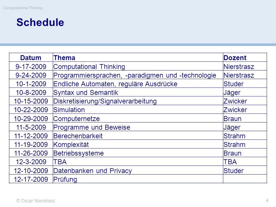 Schedule DatumThemaDozent 9-17-2009Computational ThinkingNierstrasz 9-24-2009Programmiersprachen, -paradigmen und -technologieNierstrasz 10-1-2009Endl