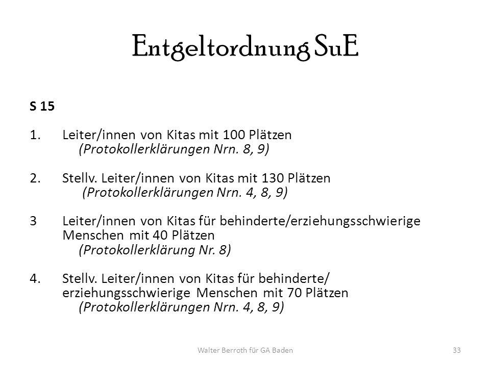 Walter Berroth für GA Baden33 Entgeltordnung SuE S 15 1.Leiter/innen von Kitas mit 100 Plätzen (Protokollerklärungen Nrn.