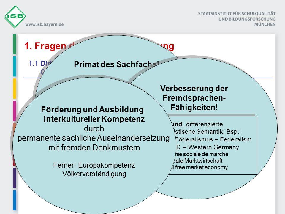 1. Fragen der Unterrichtsplanung 1.1 Didaktische Grundentscheidungen Ziele des bilingualen Sachfachunterrichts Sachfachkompetenz Fremdsprachenkompeten