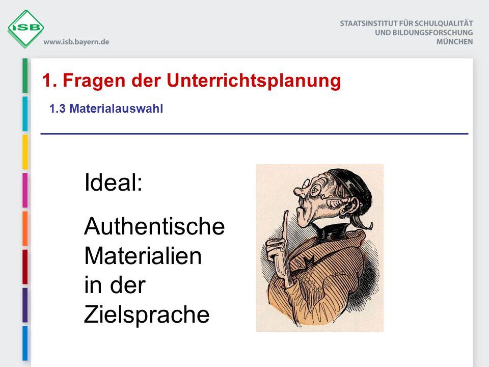 1. Fragen der Unterrichtsplanung 1.3 Materialauswahl Ideal: Authentische Materialien in der Zielsprache