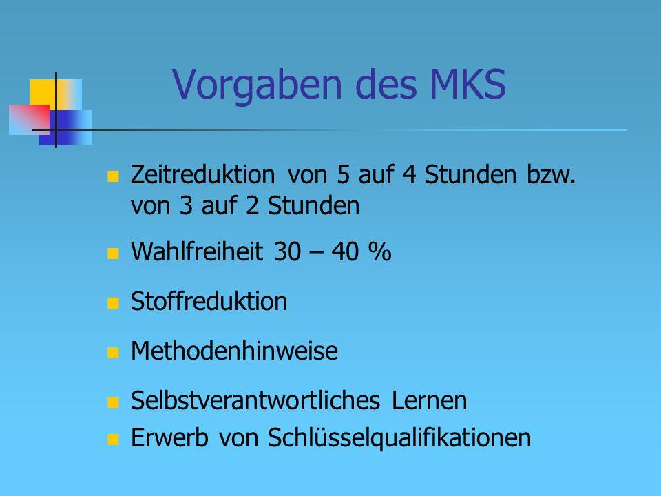 Vorgaben des MKS Wahlfreiheit 30 – 40 % Stoffreduktion Methodenhinweise Zeitreduktion von 5 auf 4 Stunden bzw.